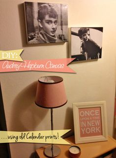 Fabulous Fashions 4 Sensible Style: GET CRAFTY: AUDREY HEPBURN CANVAS USING RECYCLED CALENDAR PRINTS