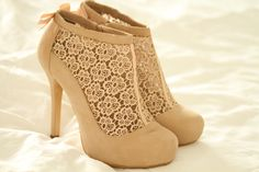 """These can replace my """"teacher shoes"""" ;) Just kidding. I love my teacher shoes :) nude shoes, fashion, style, ankle boots, cloth cloth, beauti, closet, lace heel, tan lace"""