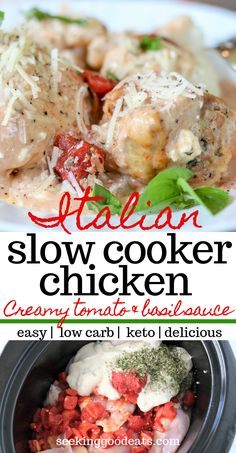 This crockpot chicken recipe is the easiest! Creamy Italian Slow Cooker Chicken Thighs is both a low carb and keto recipe. Only 7 simple ingredients result in a delicious chicken with creamy tomato ba Low Carb Crockpot Chicken, Slow Cooker Chicken Thighs, Stew Chicken Recipe, Chicken Recipes, Chicken Cooker, Keto Chicken, Vegetable Recipes, Ketogenic Recipes, Keto Recipes