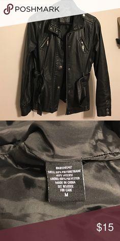 Black polyurethane jacket Medium size black jacket goes with pretty much everything! In great shape 💕 Jou Jou Jackets & Coats Blazers