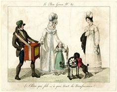 Plate 85: a mother and child, watched by another woman, give a coin to a street entertainer who plays an organ while his poodle operates a spinning wheel.  December 1815  Hand-coloured etching