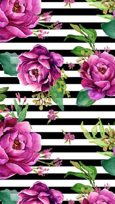 Pink Sunrise - Black and White Stripes by shopcabin - Bright purple hand painted flowers on a black and white striped background on fabric, wallpaper, and gift wrap. Add a pop of pattern with unique fabric, wallpaper & gift wrap. Art Floral, Motif Floral, Floral Wall, Fabric Wallpaper, Flower Wallpaper, Flower Backgrounds, Wallpaper Backgrounds, White Backgrounds, Wallpaper Desktop