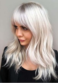 Best Long Shaggy Layers with Platinum Bangs to Try in 2021   Stylesmod Long Platinum Blonde, Platinum Blonde Hair Color, Silver Blonde Hair, Dyed Blonde Hair, Blonde Hair Bangs, Silver Platinum Hair, Brassy Blonde, Lilac Hair, Pastel Hair