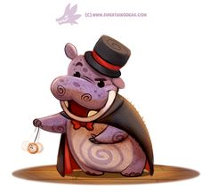 Daily Paint Hypnopotamus by Cryptid-Creations on DeviantArt Cute Creatures, Magical Creatures, Cute Animal Drawings, Cute Drawings, Kawaii Drawings, Animal Puns, Painted Books, Cute Bears, Cute Illustration
