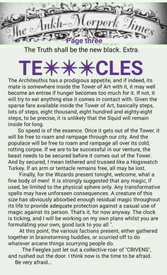 The Ankh-Morpork Times. The Truth shall be the new black. Extra. TE***CLES. page three. by David Green 7 Jan 2016