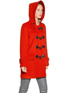 BURBERRY BRIT / MINSTEAD HOODED WOOL COAT