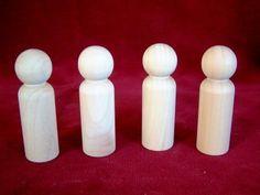 4 of No. 4 Tall Man Peg Doll, Unfinished Hardwood
