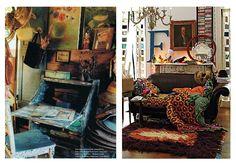 kącik i biurko w stylu boho oraz salon w stylu boho