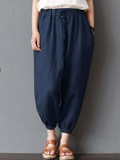 5ca88700f68 Women Vintage High Elastic Waist Loose Harem Pants  Loose  Waist  Harem   High  Elastic  Women  Pants  Vintage