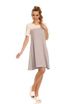 Trapezowa sukienka dwukolorowa ekri-szary CYNTIA / sukienki / SUKIENKI / ODZIEŻ DAMSKA - Sukienki dresowe, Sukienka dresowa, Sukienki sklep, Odzież damska