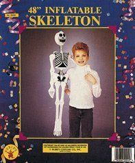 """48"""" Inflatable Skeletons Halloween Decorations Halloween Props . $4.05. all one piece use it to hang outside or inside.. already painted with full skeleton decal.. fully inflatable halloween decoration. Perfect for any decoration outside or inside. hang it by the door, and scare trick-o-treaters."""