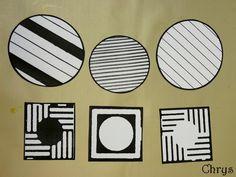 UN TABLEAU DE VASARELY   (en moyenne section)           Du temps, des mots.      Carrés, cercles (ou ronds), traits (lignes ou rayures) .  ...