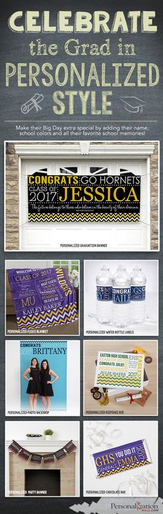 PERFECT for your Graduation Party! This collection is so cute and you can personalize it with any 2 colors to match their school color! You can get everything you need for your graduation party including grad party favors, water bottle labels, a grad party photo booth backdrop for fun selfies and a ton more ideas!