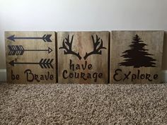 """Handmade 12"""" x 12"""" Wooden """"Be Brave"""" Three Sign Set by jammyjanedesigns on Etsy"""
