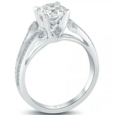 1.90 Carat H-VS2 Certified Natural Round Diamond Engagement Ring 18k White Gold