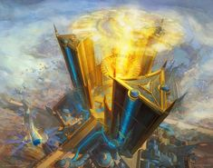 My first basic land for Magic has been revealed! Featuring the towers of New Prahv in Ravnica: War of the Spark. Fantasy Concept Art, Game Concept Art, Fantasy Artwork, Spark Art, Modern Magic, Mtg Art, Fantasy Setting, Fantasy Landscape, Land Art
