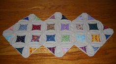 Vintage Style Scrappy Handstitched Cathedral Window Quilt Table Runner
