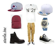 """Untitled #21"" by starla-boyd on Polyvore featuring N°21, Vans, Vince Camuto, Converse, New Era, Parkland, Timberland, men's fashion and menswear"