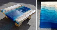 Estas mesas con apariencia de lagos y semejante son únicas, no hay 2 iguales.