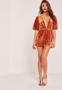 Velvet Kimono Sleeve Tie Waist Romper Orange - Missguided