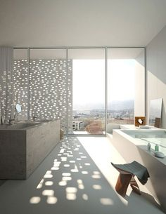 Lovely interior view of Mirror Tower LAN Architecture by Karen Cilento 28 Oct 2009 Lan Architecture, Architecture Details, Beautiful Bathrooms, Modern Bathrooms, Lighting Design, Interior Inspiration, Sweet Home, New Homes, House Design