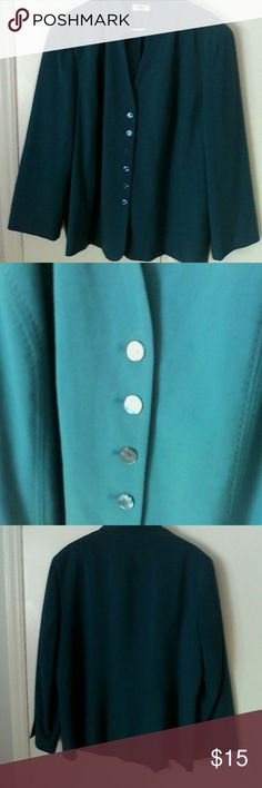 Teal Jacket Cato Woman Plus 22W 24W Lined This is a jacket by Cato Woman.  There is no size tag inside, but it fits like a 22W/24W woman's plus size. Fully lined, buttons down front.  Mandarin style collar, princess seaming, NO pockets. A rich teal blue green color Polyester rayon spandex fabric,. Dry clean only. In excellent used condition. Cato Woman Jackets & Coats Blazers