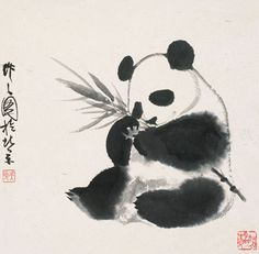 In the beginning, there was a panda...  Ink Painting by Wu Zuoren, a Chinese artist specialised in panda portrait
