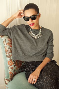 lazy wear | cropped slouchy sweater, polka dot PJ pants, flats and a statement necklace