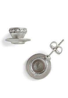Sips of Style Earrings - Silver, Rhinestones, Kawaii, Fairytale, Top Rated