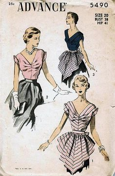Vintage sewing pattern: 1950s hostess blouse and apron