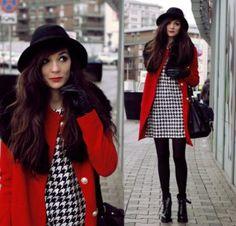 красные брюки чёрное пальто - Поиск в Google