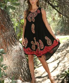 Another great find on #zulily! Black & Red Paisley Shift Dress - Women by Ananda's Collection #zulilyfinds
