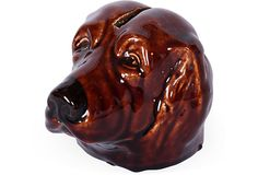 19th-C. Majolica Doggie Bank, love the idea of a sculpted bank. #form