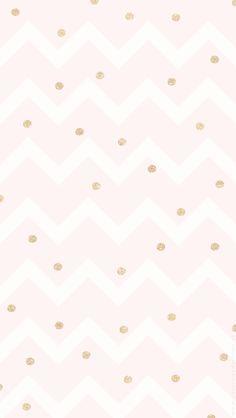 Blush pink white chevron gold dots spots confetti iphone wallpaper phone background lockscreen