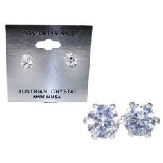 Swarovski Crystal Stud Earrings : Clear (Diamond) Crystal color in Sterling Silver with Heart-Shaped Gift Box