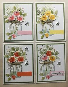 1 Card will be completed for you (mixed colors) and you will received everything to complete 3 more cards. Handmade Greetings, Greeting Cards Handmade, Love Jar, Mason Jar Cards, Mason Jar Flowers, Happy Birthday Cards, Birthday Greetings, Birthday Wishes, Get Well Cards