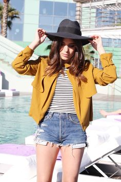 Outfit: Denim Shorts, Striped Shirt, Yellow Jacket and Black Hat