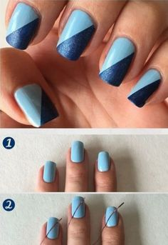 Easy step by step tutorial. Using ciate and NYC nail polish and… cool Easy blue nail art design. Easy step by step tutorial. Using ciate and NYC nail polish and striper tape. Simple nail art for beginners! Nail Art Hacks, Nail Art Diy, Cool Nail Art, Nyc Nail Polish, Nyc Nails, Nail Polish Art, Simple Nail Art Designs, Best Nail Art Designs, Simple Art