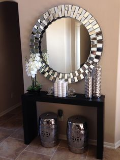 Console table ideas small entryway table decor home entrance decorating ideas best foyer table decor ideas . Mirror Decor Living Room, Home Decor Mirrors, Living Room On A Budget, Home Decor Bedroom, Wall Mirrors, Circle Mirrors, Bedroom Wall, Living Rooms, Serene Bedroom