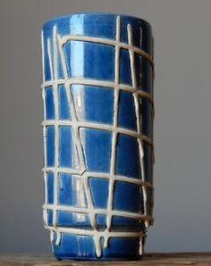 RARE-Labelled-Vintage-60s-BAY-KERAMIK-Blue-Vase-W-German-Pottery-Fat-Lava-Era
