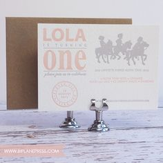1st birthday letterpress invitation elefunky birthday 1st birthday letterpress invitation pony rides filmwisefo