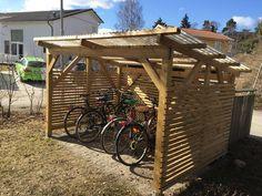 Bildresultat för färdiga cykelförråd Outdoor Living, Pergola, Arch, Shed, Woodworking, Outdoor Structures, The Originals, Garden, Wood Work