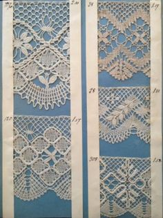 from Elsa Peterson's sample book, Swedish torchon, from Vadstena Ribbon Yarn, Lace Ribbon, Antique Lace, Vintage Lace, Swedish Embroidery, Crochet Wedding Dresses, Bobbin Lacemaking, Bobbin Lace Patterns, Crochet Borders