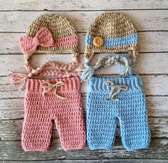 Twin Beanies in Oatmeal, Baby Blue and Dusty Pink with Matching Pants Available in Newborn to 6 Month Size- MADE TO ORDER on Etsy, $903.23