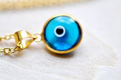 Blue Evil Eye  blue evil eye necklace  evil eye  pendant by Jumkha, $35.00
