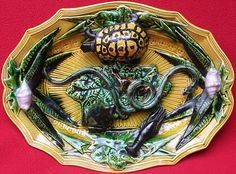 Exceptional Huge Majolica Palissy Platter C 1850 1880
