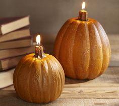 Orange Pumpkin Candles #potterybarn