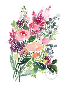 Yao Cheng Design - Roses & Astilbes - Watercolor Art Print