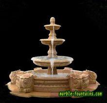 Cachoeira ao ar livre fontes de mármore da fonte de três camadas pequeno personalizado cachoeira marrom natural , fonte de pedra com piscina de água(China (Mainland))