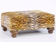 Tiger Furniture | Fierce Tiger Print Fabric Ottoman. Timeless Furniture